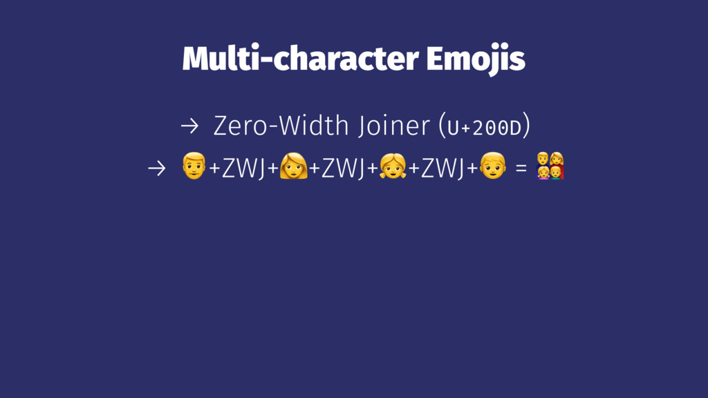 Multi-character Emojis → Zero-Width Joiner (U+2...