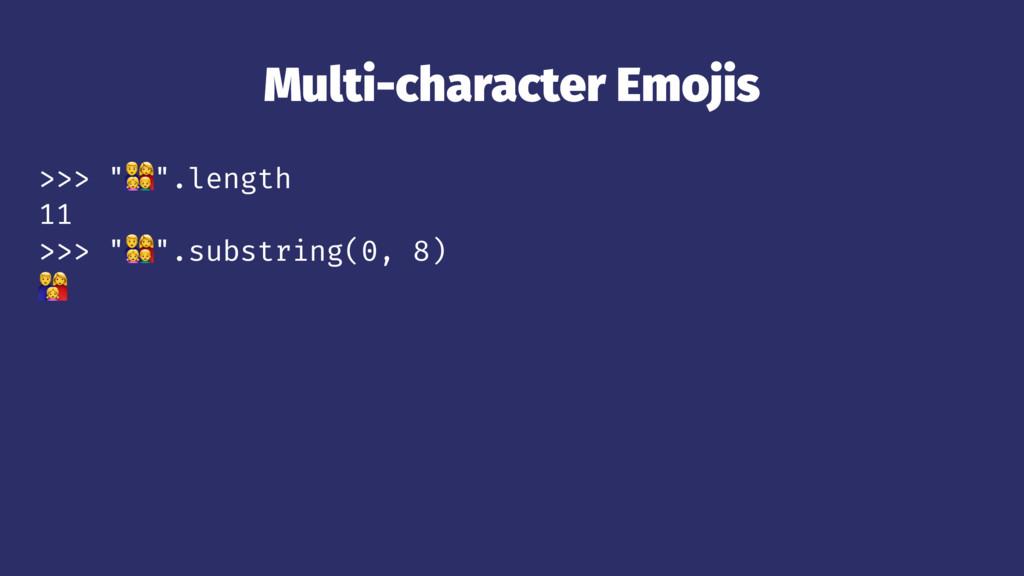"""Multi-character Emojis >>> """"!"""".length 11 >>> """"!..."""