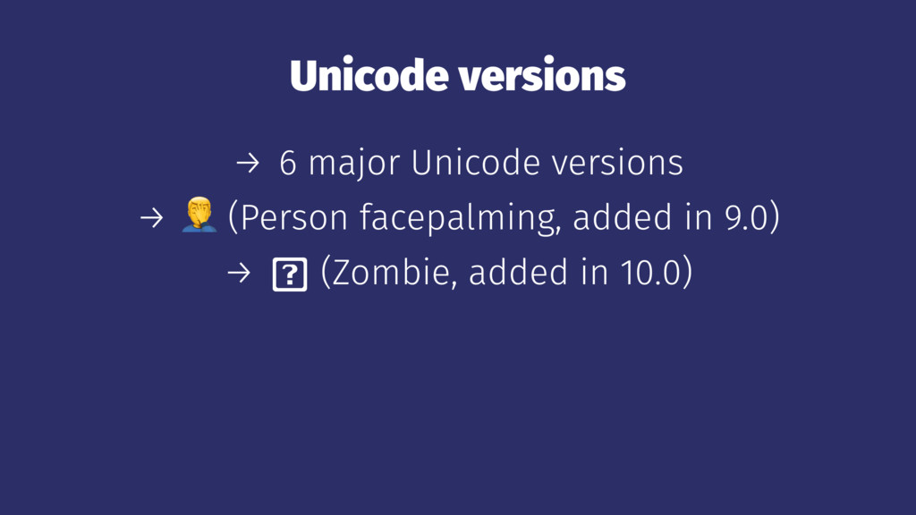 Unicode versions → 6 major Unicode versions → !...
