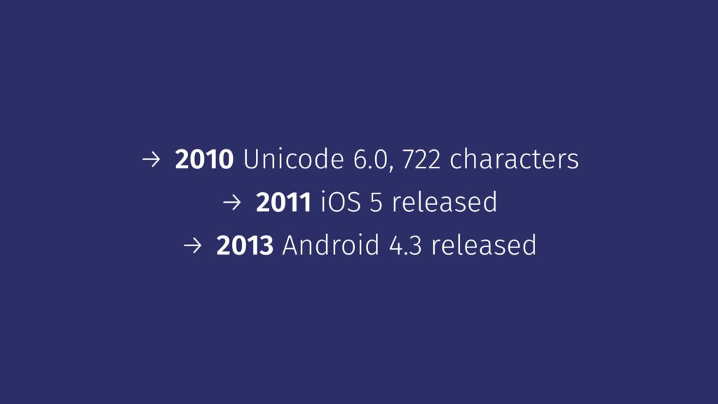→ 2010 Unicode 6.0, 722 characters → 2011 iOS 5...