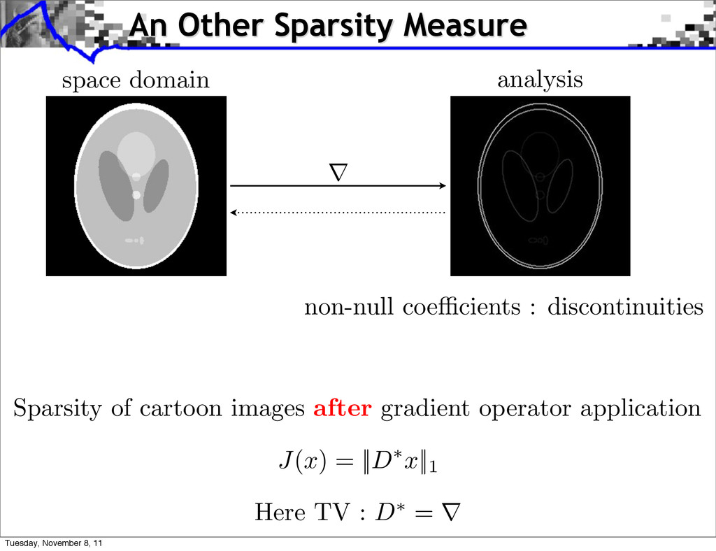 non-null coe cients : discontinuities Sparsity ...