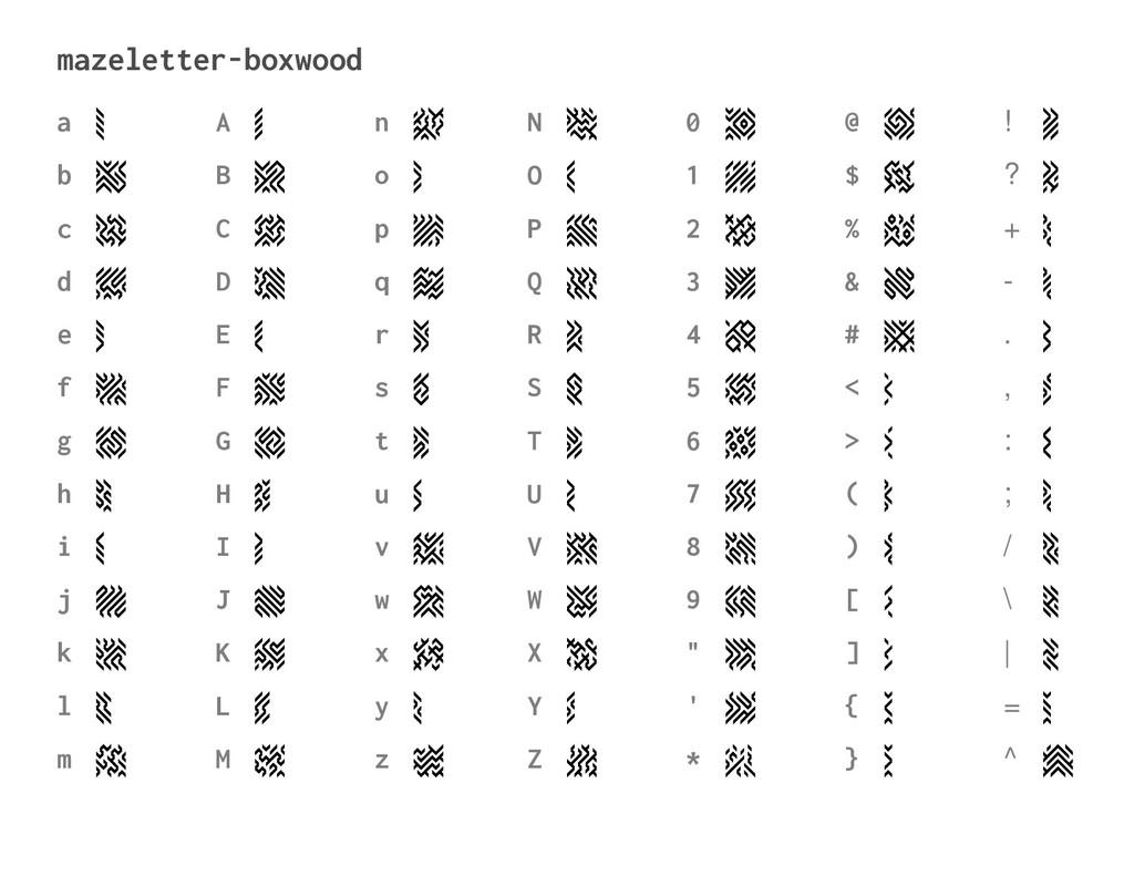 mazeletter-boxwood a b c d e f g h i j k l m a ...