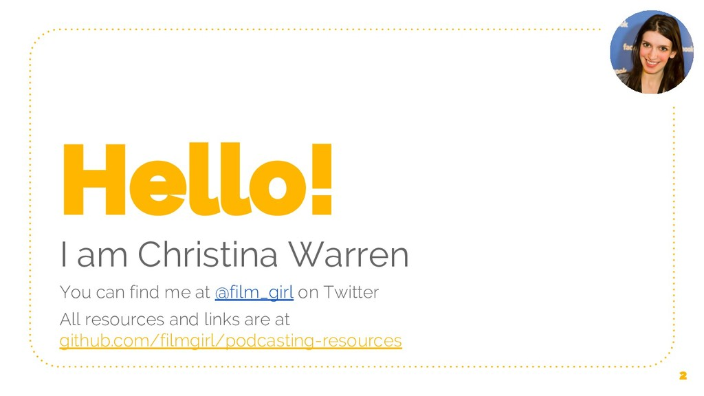 Hello! I am Christina Warren You can find me at...