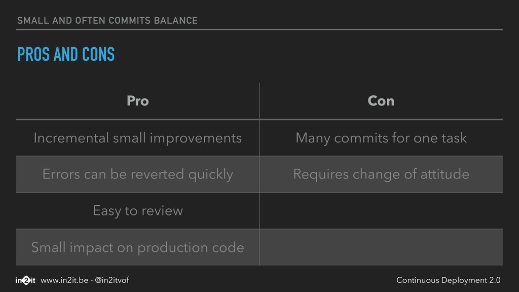 SMALL AND OFTEN COMMITS BALANCE PROS AND CONS P...