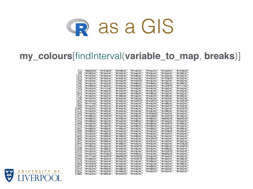 R as a GIS my_colours[findInterval(variable_to_m...