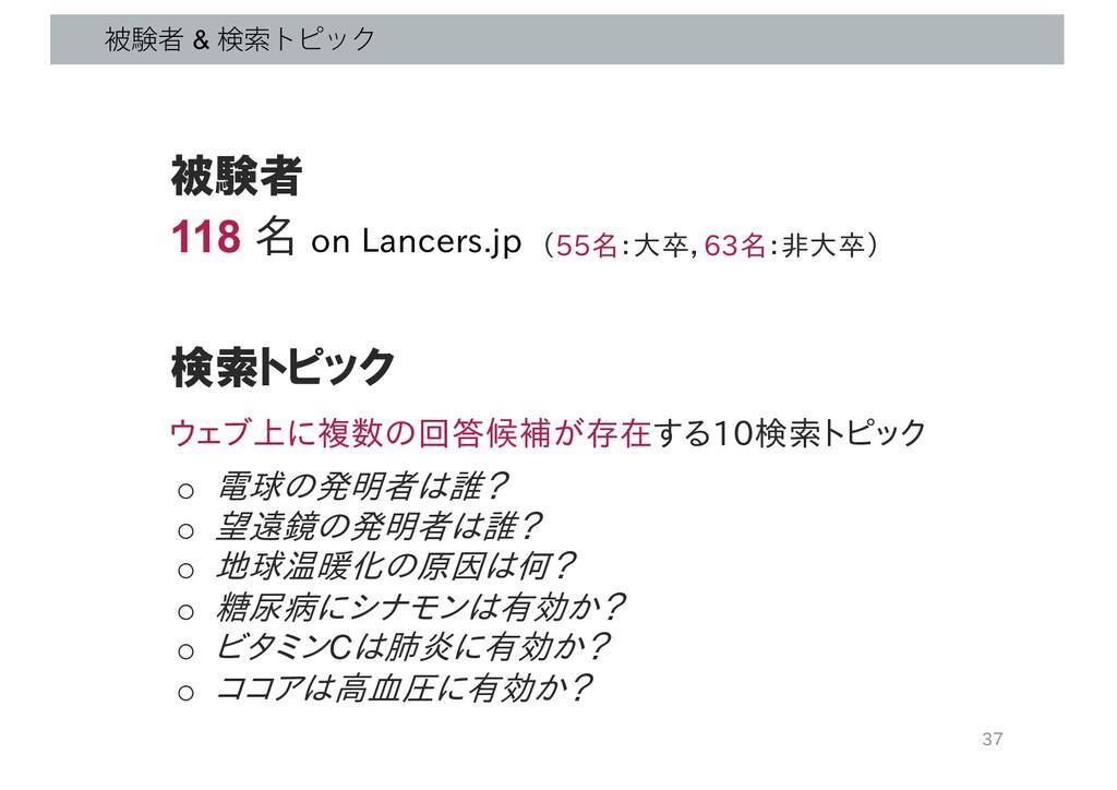 ඃݧऀ & ݕࡧτϐοΫ 37 被験者 118 名 on Lancers.jp 検索トピック ...