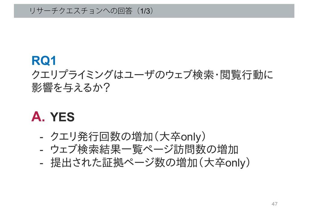 ϦαʔνΫΤενϣϯͷճʢ1/3ʣ 47 RQ1 クエリプライミングはユーザのウェブ検索・...