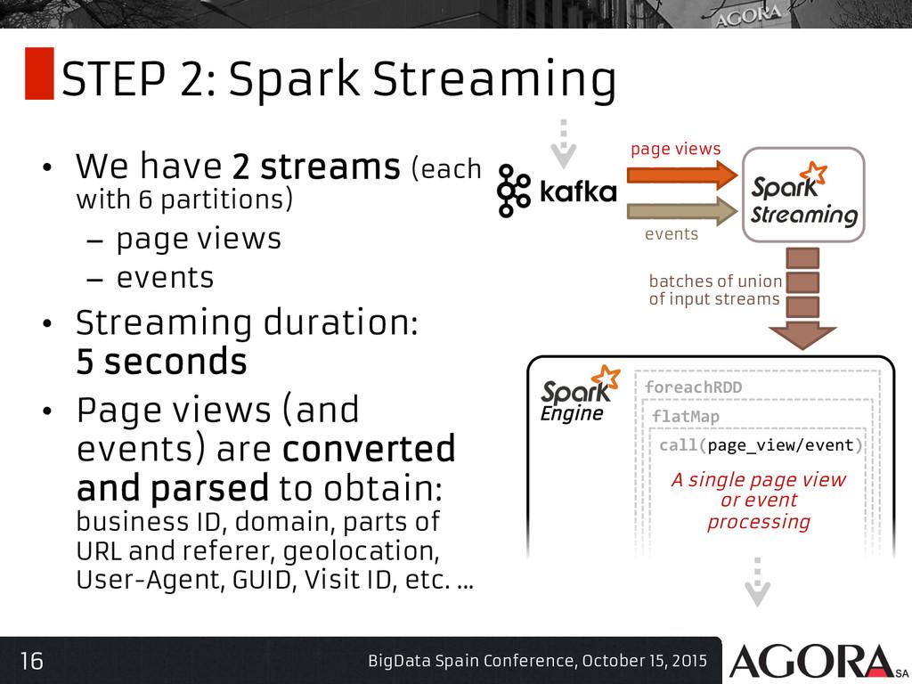 16 STEP 2: Spark Streaming • We have 2 streams...