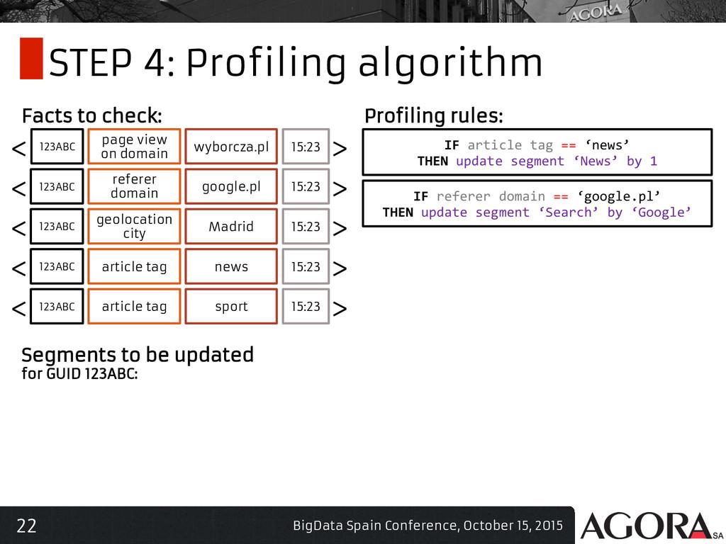 22 STEP 4: Profiling algorithm BigData Spain Co...