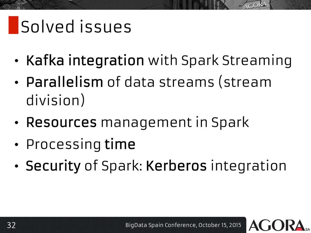 32 Solved issues • Kafka integration with Spar...