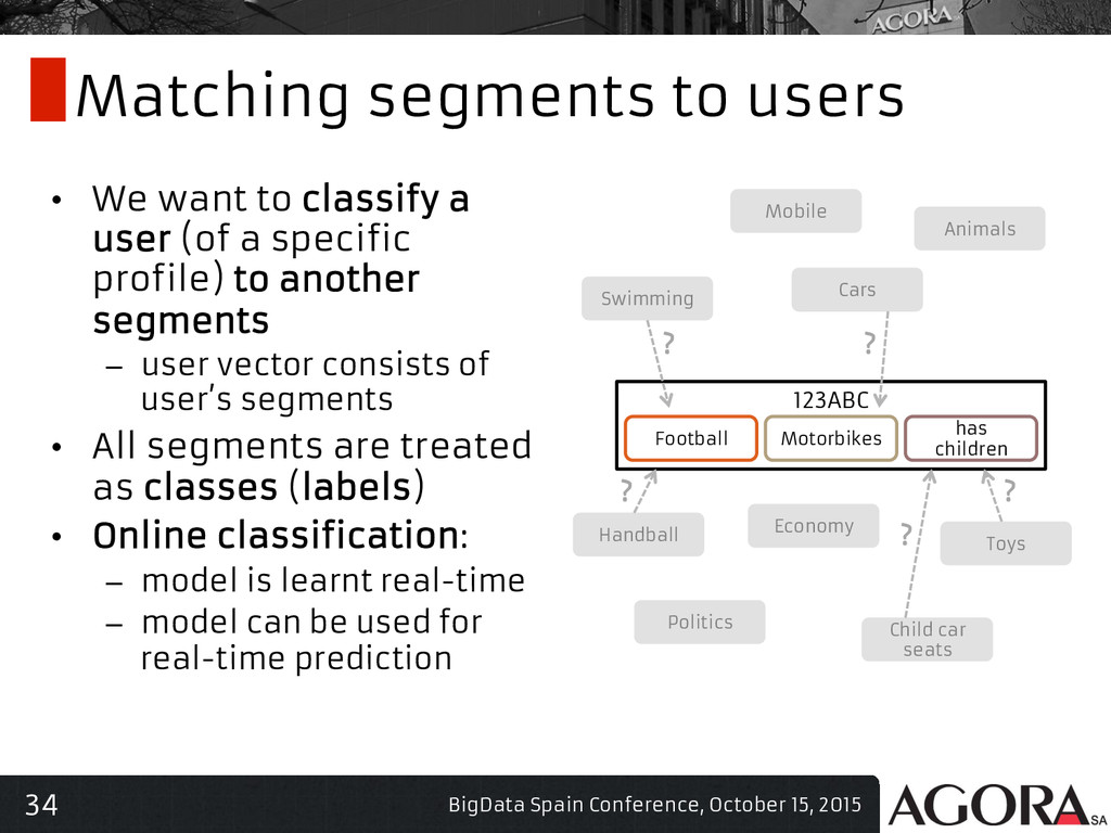 34 Matching segments to users • We want to cla...