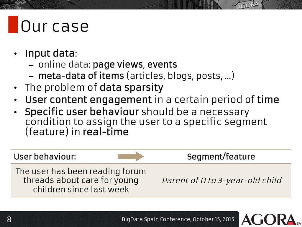 8 Our case • Input data: – online data: page ...