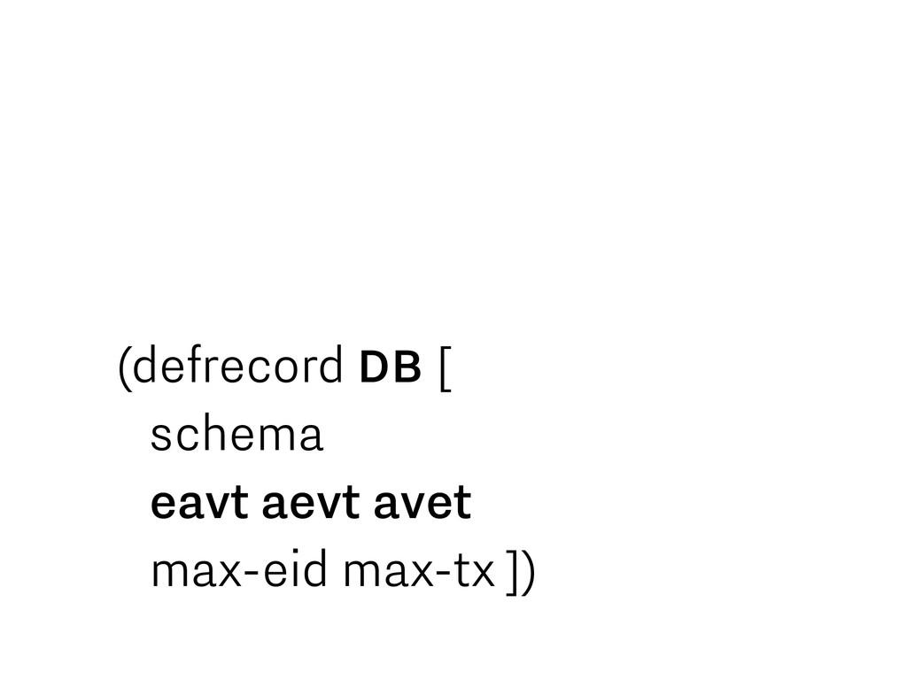 (defrecord DB [ schema eavt aevt avet max-eid m...