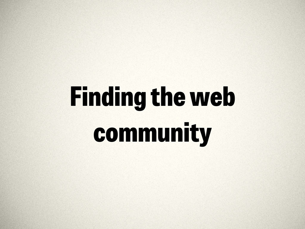 Finding the web community