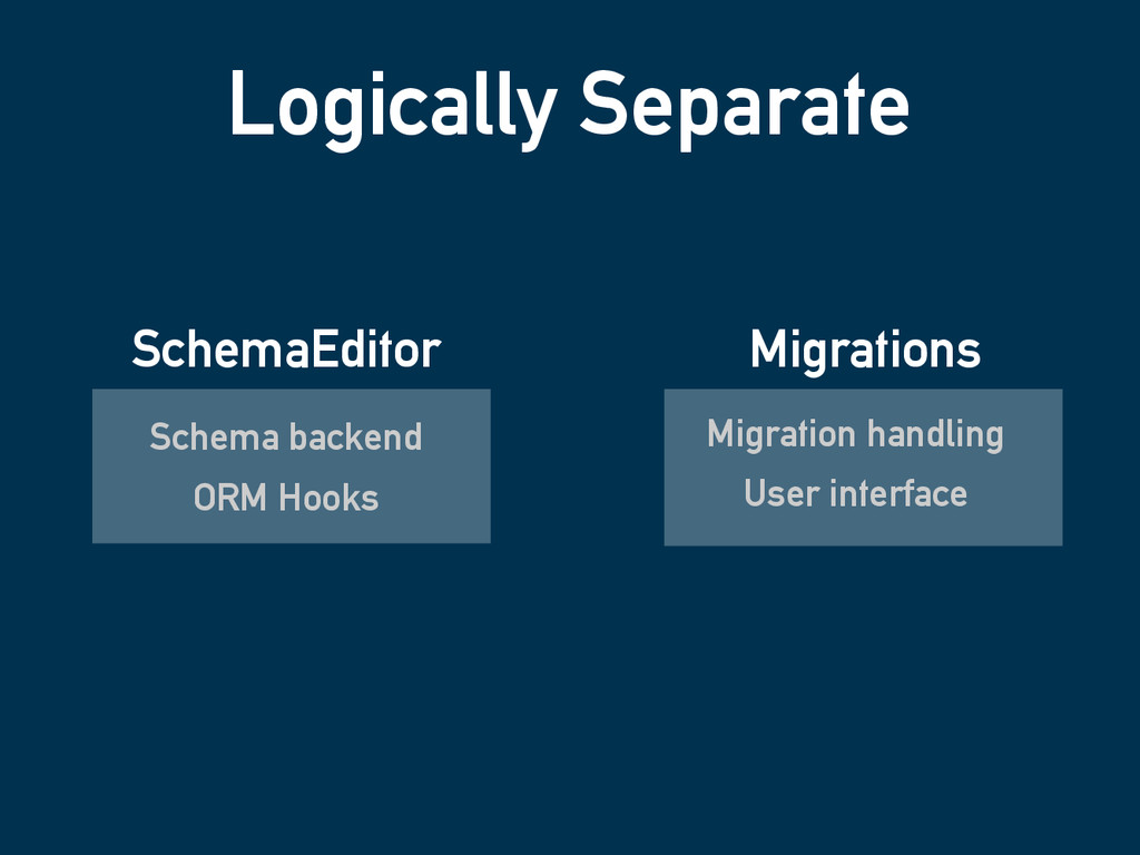 Logically Separate Schema backend ORM Hooks Mig...