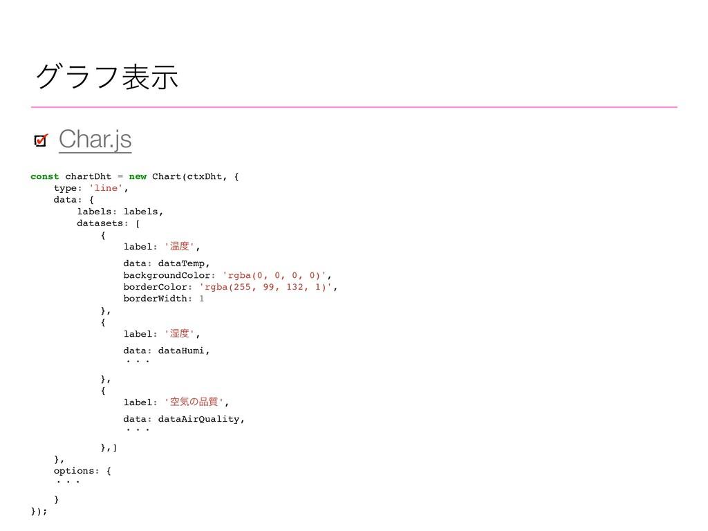Char.js άϥϑදࣔ const chartDht = new Chart(ctxDht...