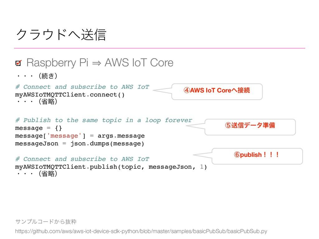 Ϋϥυૹ৴ Raspberry Pi 㱺 AWS IoT Core αϯϓϧίʔυ͔Βൈਮ...