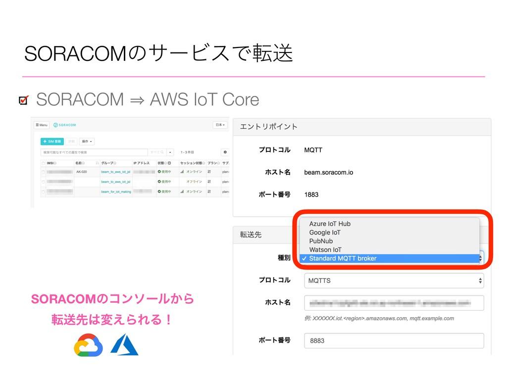 SORACOMͷαʔϏεͰసૹ SORACOM 㱺 AWS IoT Core SORACOMͷ...