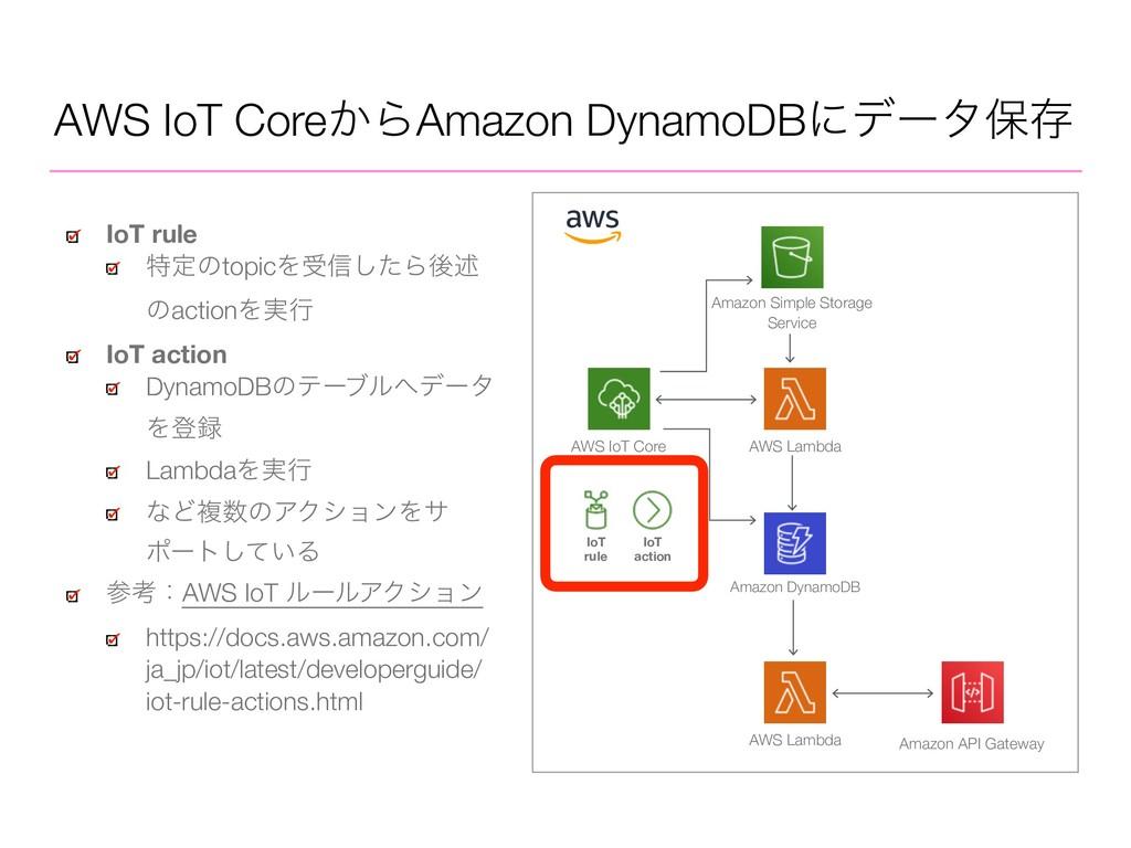 AWS IoT Core͔ΒAmazon DynamoDBʹσʔλอଘ AWS IoT Cor...
