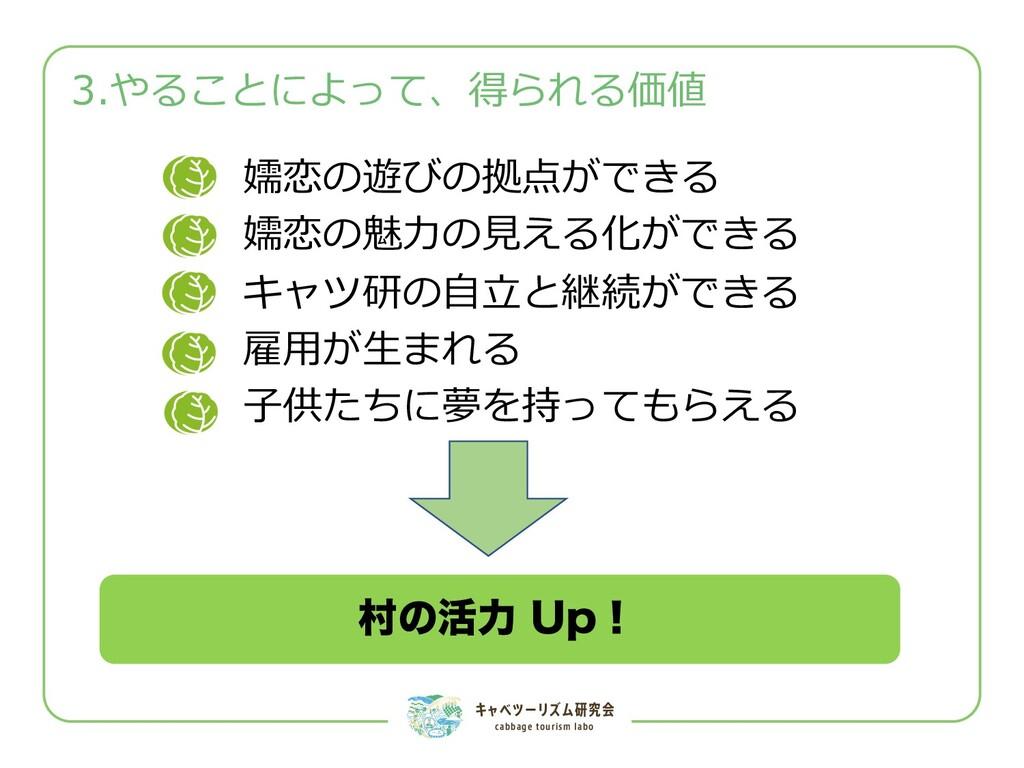 キャベツーリズム研究会 cabbage tourism labo 3.やることによって、得られ...