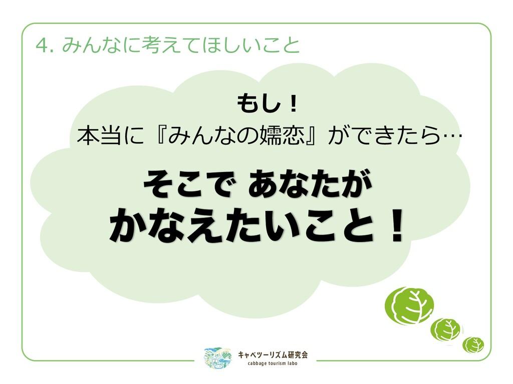 キャベツーリズム研究会 cabbage tourism labo 4. みんなに考えてほしいこ...
