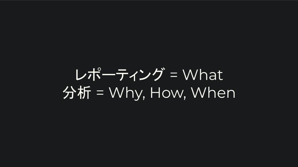 レポーティング = What 分析 = Why, How, When