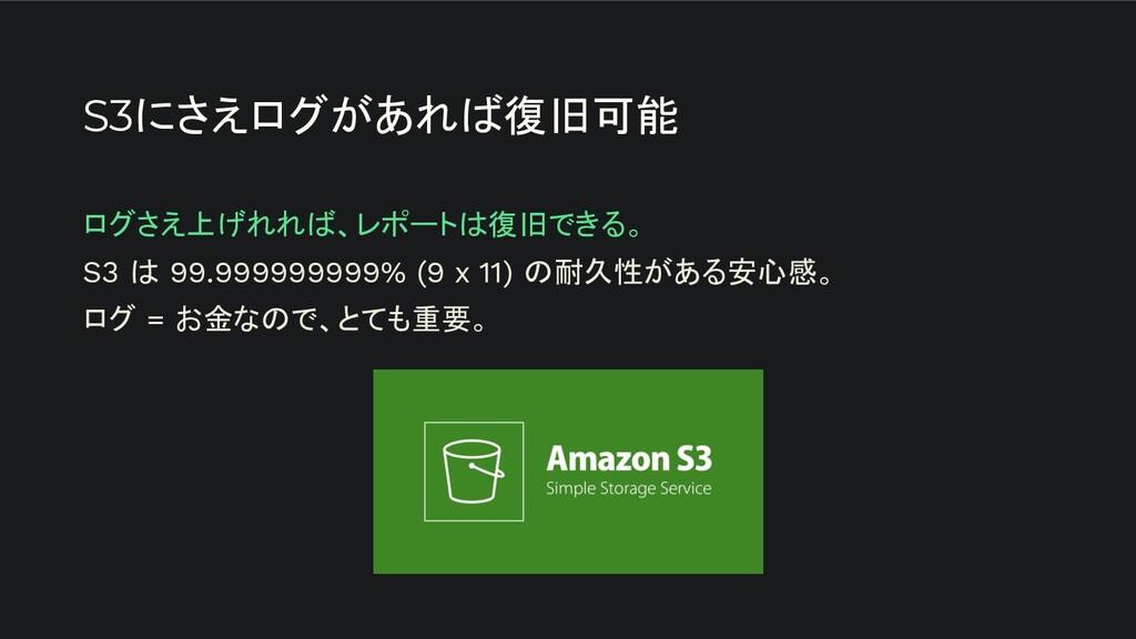 S3にさえログがあれば復旧可能 ログさえ上げれれば、レポートは復旧できる。 S3 は 99.9...