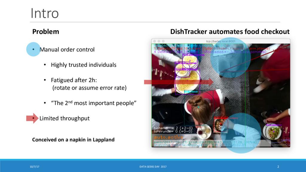 Intro 10/7/17 DATA GEEKS DAY 2017 2 DishTracker...