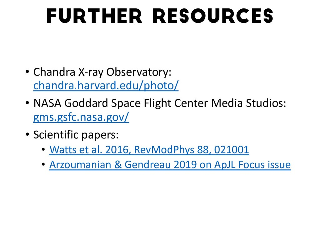 • Chandra X-ray Observatory: chandra.harvard.ed...