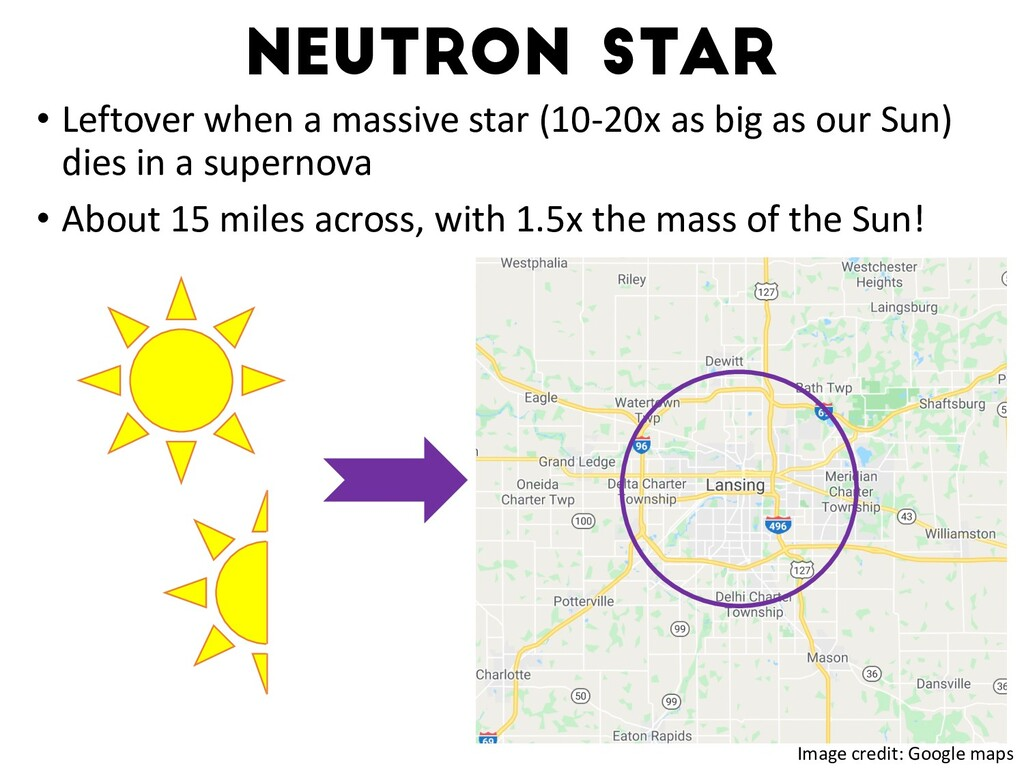 Neutron star • Leftover when a massive star (10...