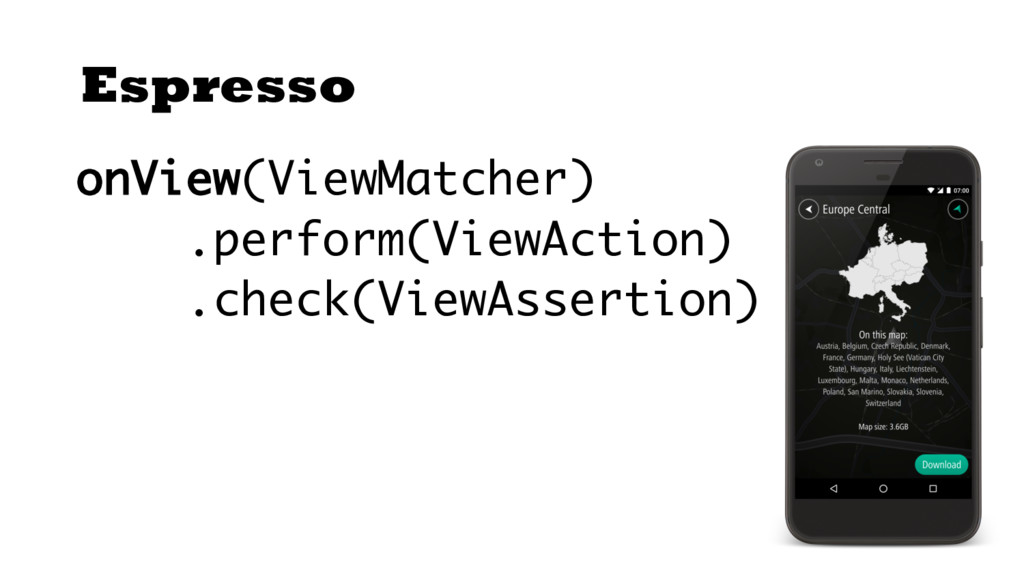 Espresso onView(ViewMatcher) .perform(ViewActio...