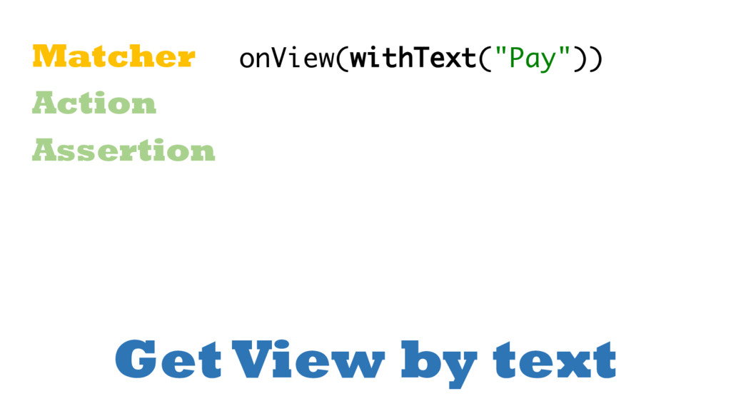 Get View by text Matcher Action Assertion onVie...