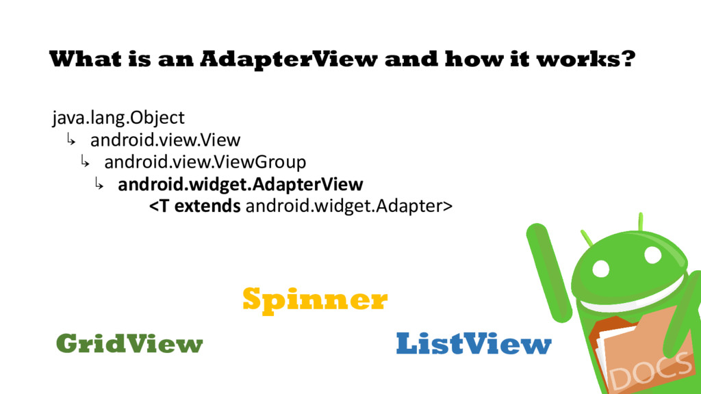 What is an AdapterView and how it works? java.l...