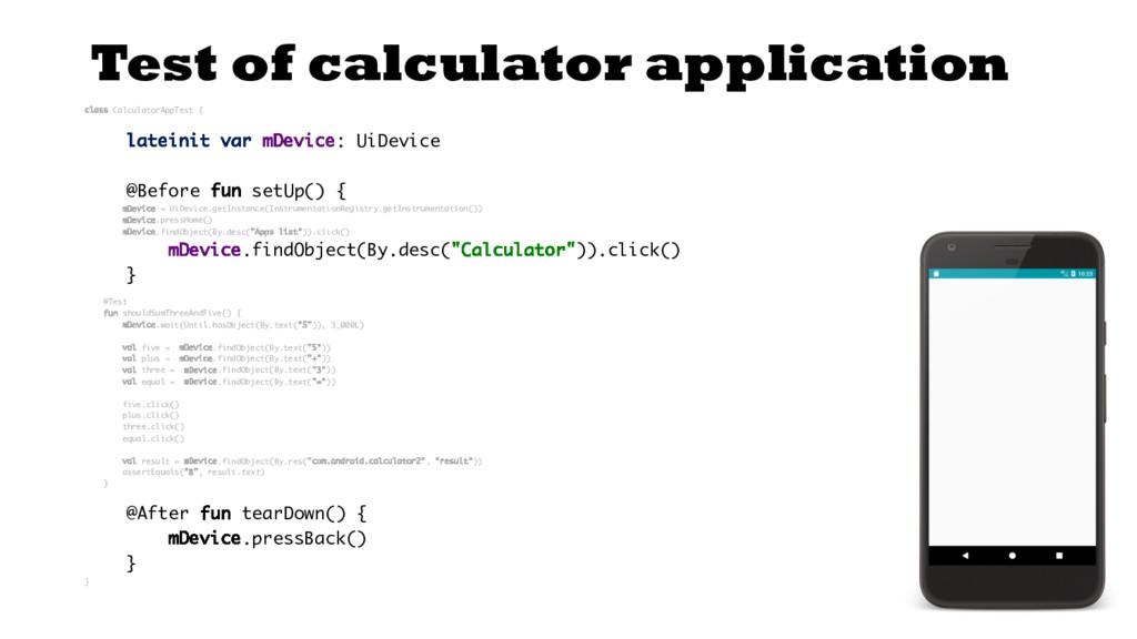Test of calculator application class Calculator...