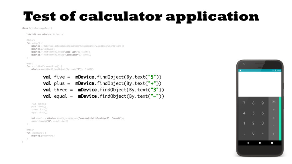 Test of calculator application class Calculator...