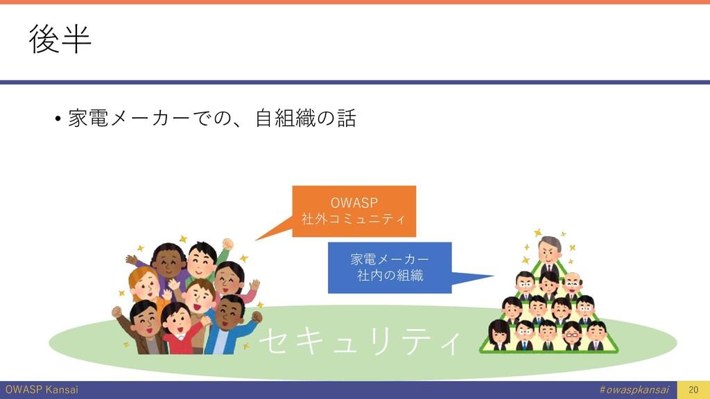 OWASP Kansai #owaspkansai 後半 • 家電メーカーでの、自組織の話 2...