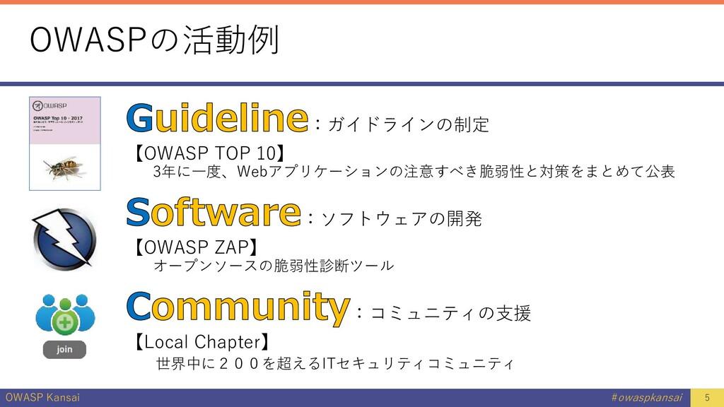 OWASP Kansai #owaspkansai OWASPの活動例 :ガイドラインの制定 ...