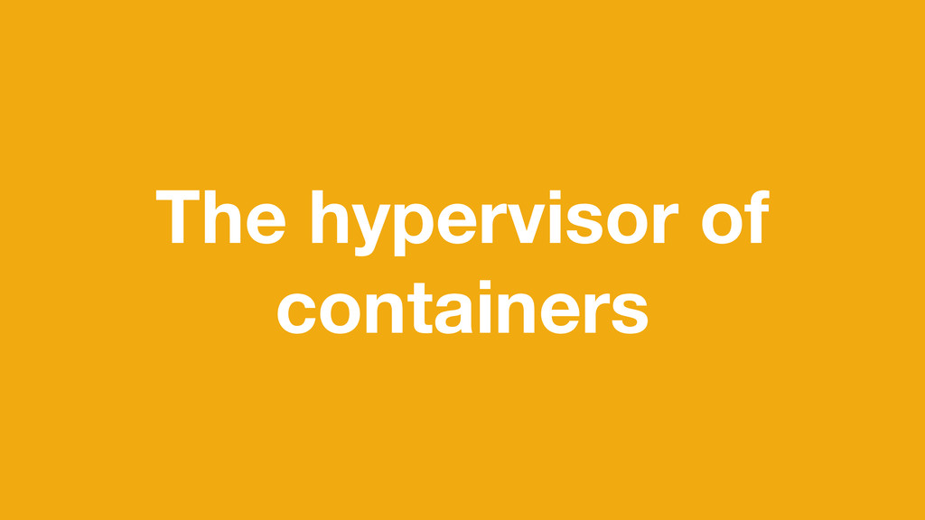 The hypervisor of containers