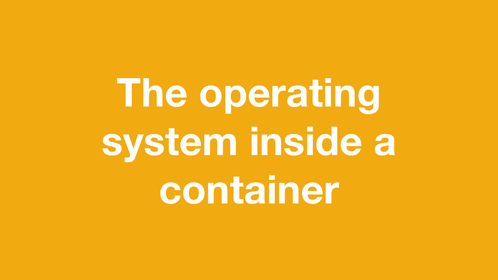 The operating system inside a container