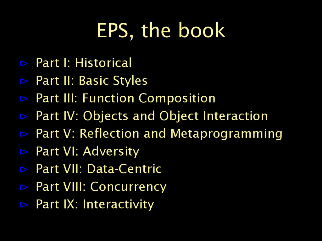EPS, the book ⊳ Part I: Historical ⊳ Part II: B...