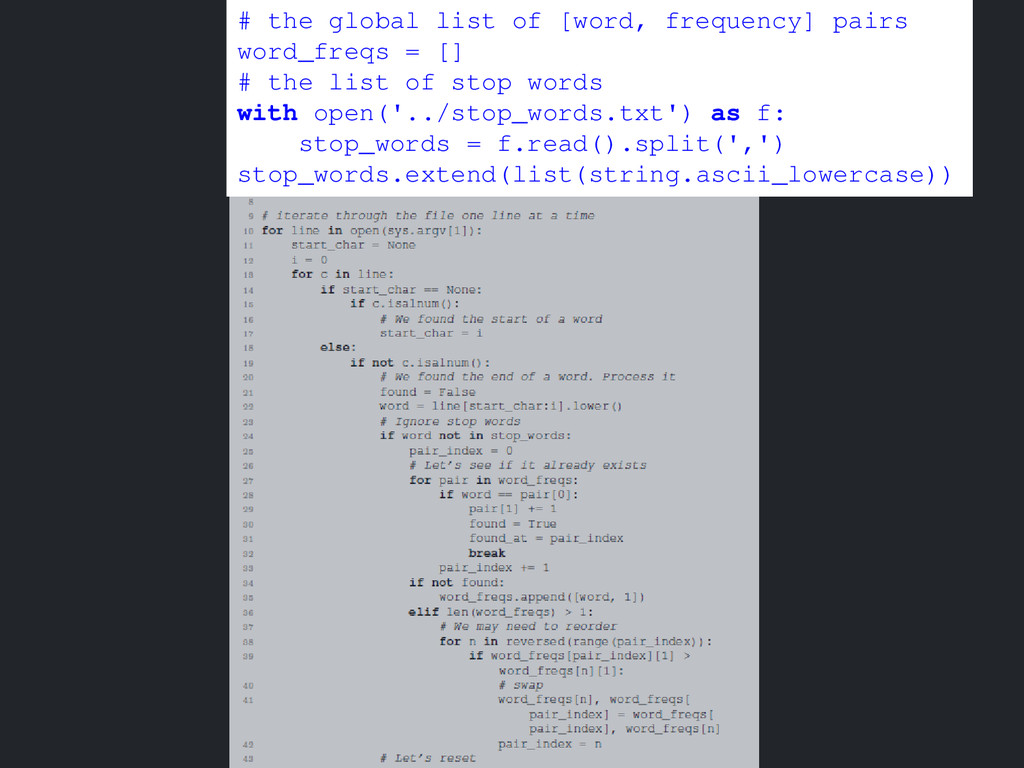 # the global list of [word, frequency] pairs wo...