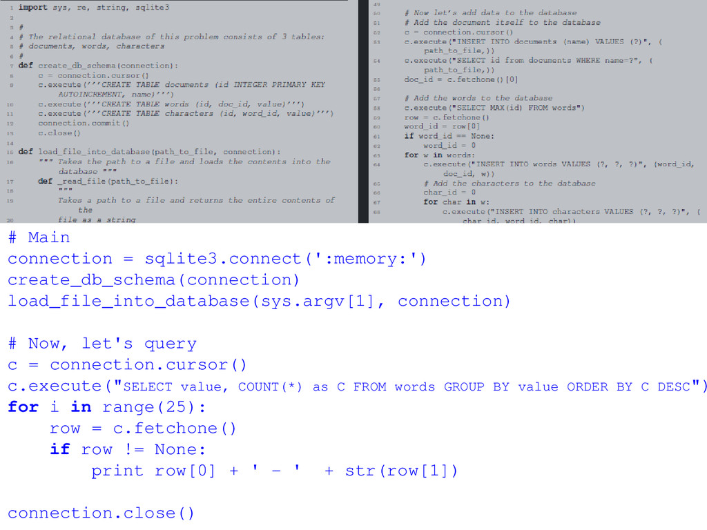 # Main connection = sqlite3.connect(':memory:')...