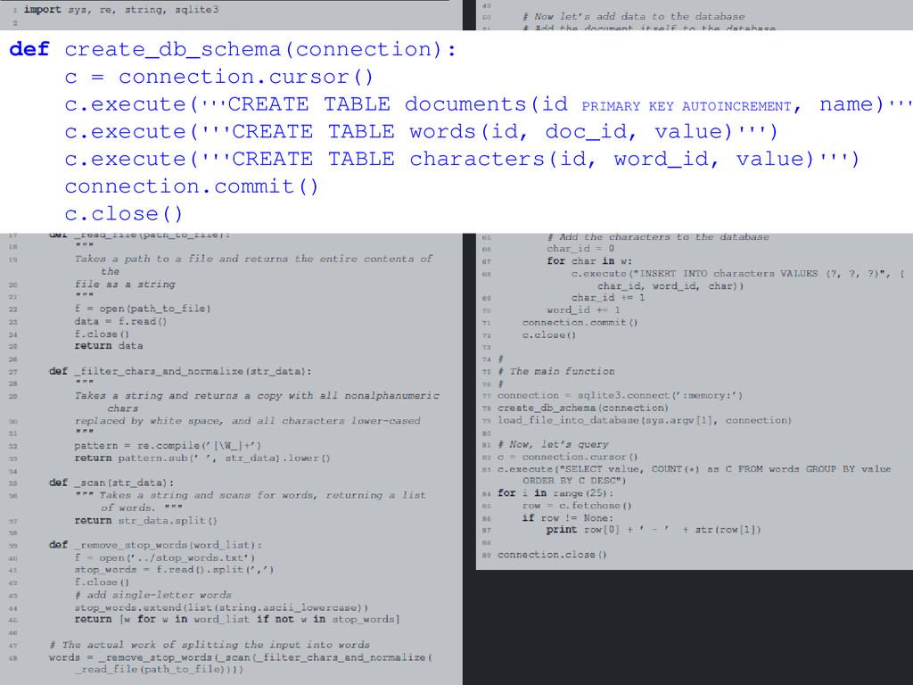 def create_db_schema(connection): c = connectio...