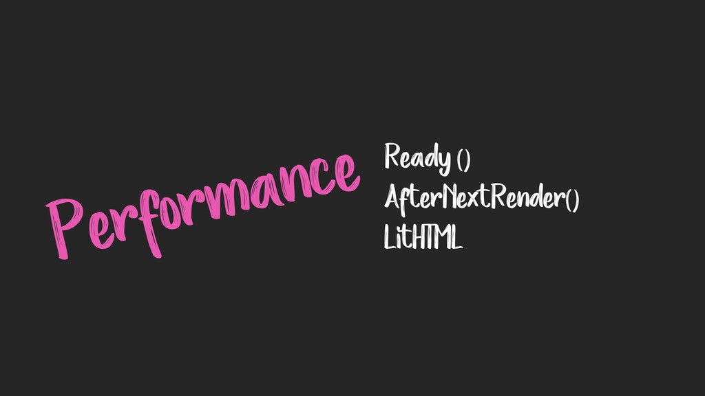 Performance Ready () AfterNextRender() LitHTML
