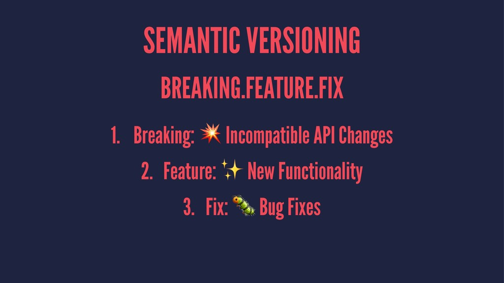 SEMANTIC VERSIONING BREAKING.FEATURE.FIX 1. Bre...
