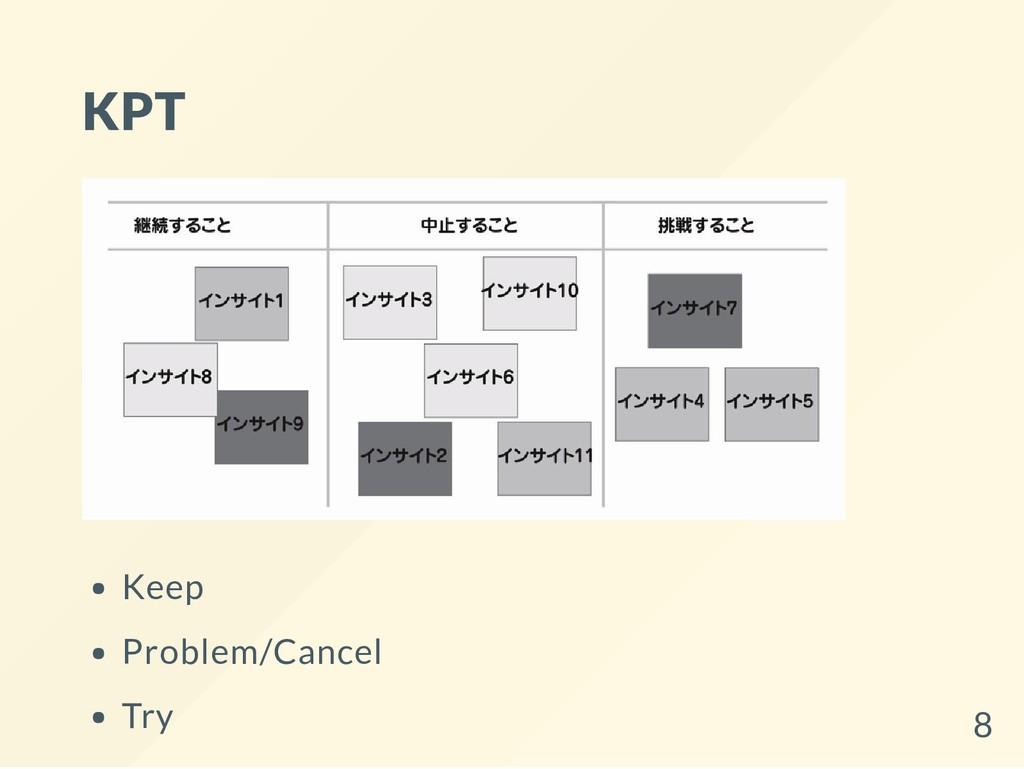KPT Keep Problem/Cancel Try 8