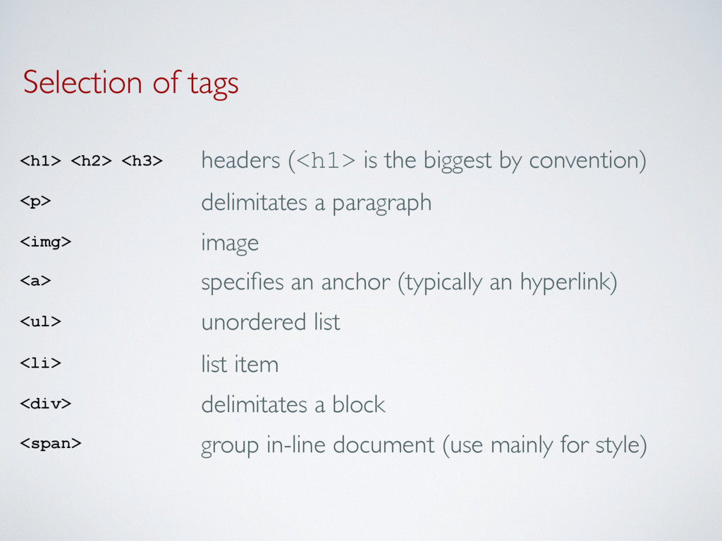 Selection of tags <h1> <h2> <h3> headers (<h1> ...