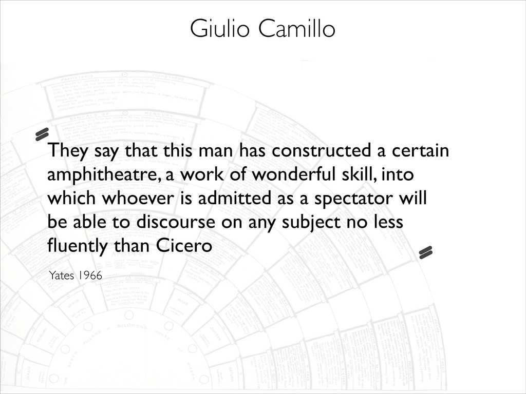 Giulio Camillo They say that this man has const...