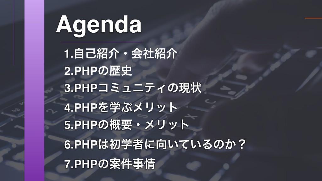 3.PHPίϛϡχςΟͷݱঢ় Agenda 2.PHPͷྺ 1.ࣗݾհɾձࣾհ 4.PH...