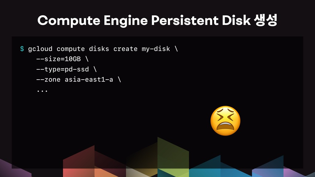 $ gcloud compute disks create my-disk \ --size=...